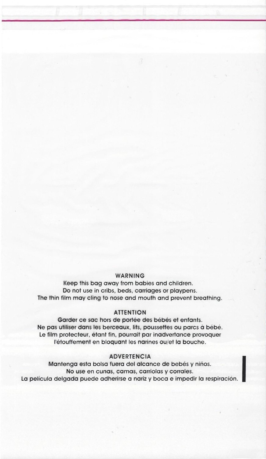 ULINE S-1931 Resealable Suffocation Warning Bag for Shirts and Toys with Trilingual Printed Warning (1.5 Mil, 11 x 14 Inches, 100 Count)