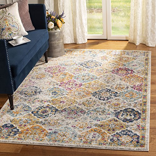Safavieh Madison Collection MAD611B Cream and Multicolored Bohemian Chic Distressed Square Area Rug (4' Square)