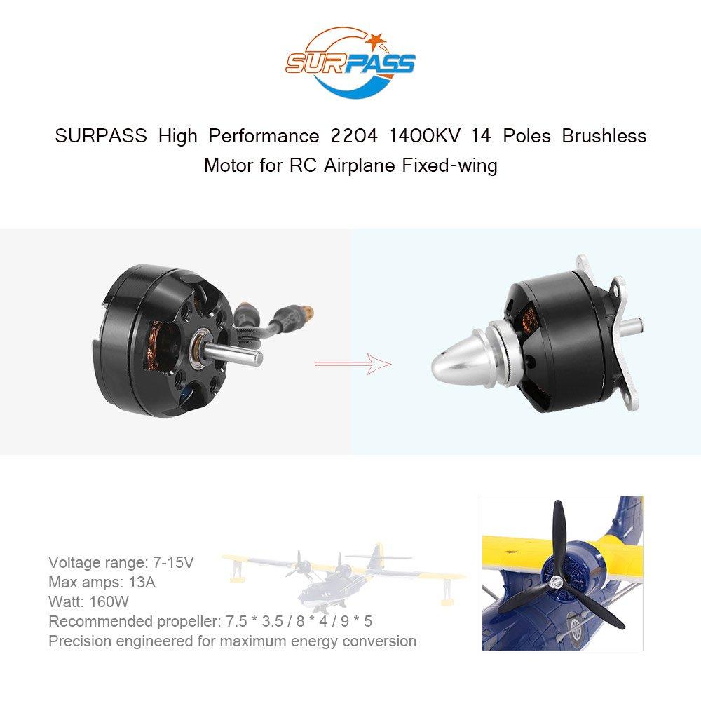 Goolsky Original SURPASS High Performance 2204 1400KV 14 Poles Brushless Motor for RC Airplane Fixed-wing