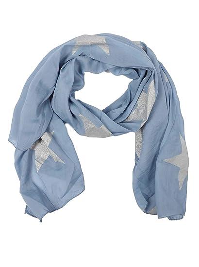 Tuch in Jeanslook mit Sternen und Glitter hellblau jeans
