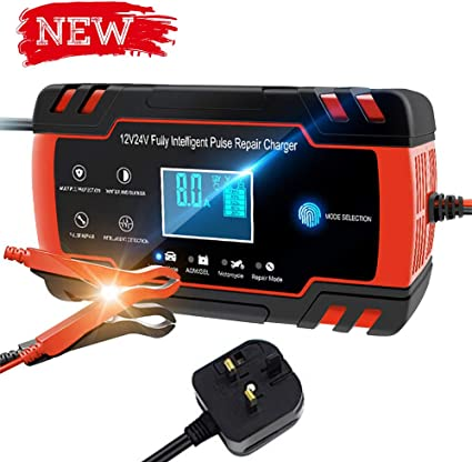 Intelligent Fully Automatic Fast Smart Trickle Charger with Lcd Display for UK Motorcycles Cars Ships and Other Equipment N Car Battery Charger//Maintainer 12V DC 8A