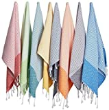 (Set of 8) Turkish Cotton Hand Face Head Guest Gym Towel Set Peshtemal Washcloth Kitchen Tea Towel Dish Cloth Set