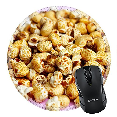 MSD Mousepad Round Mouse Pad/Mat 20222247 popcorn on a pink background