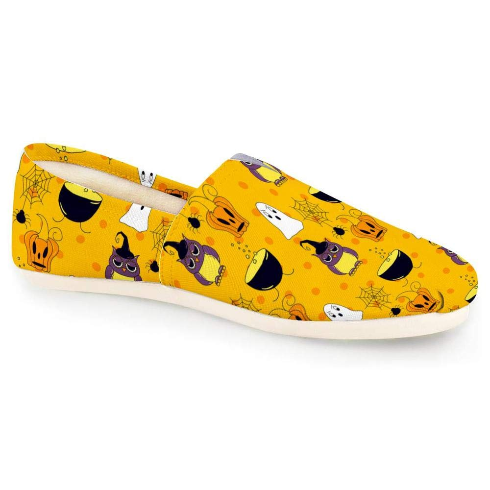 linhuizhen Halloween Pumpkin Canvas Loafers for Women Yellow Fashion Casual Slip-on Sneakers Shoes