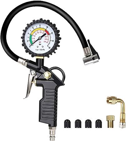 Uraqt Air Pressure Gauge Tyre Inflator Tyre Pressure Gauge 220 Psi Tyre Inflator Gauge Multifunction Air Pressure Gauge With Valve Core Tool Compressor Accessories Black 1 Black Auto