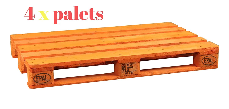 Dydaya 4 Palets Europeos Naranja de 800x1200 de Madera Lijados y Pintados de Naranja para Bodas& Camas & Cabecero & Interior & Exterior & Plantas & ...