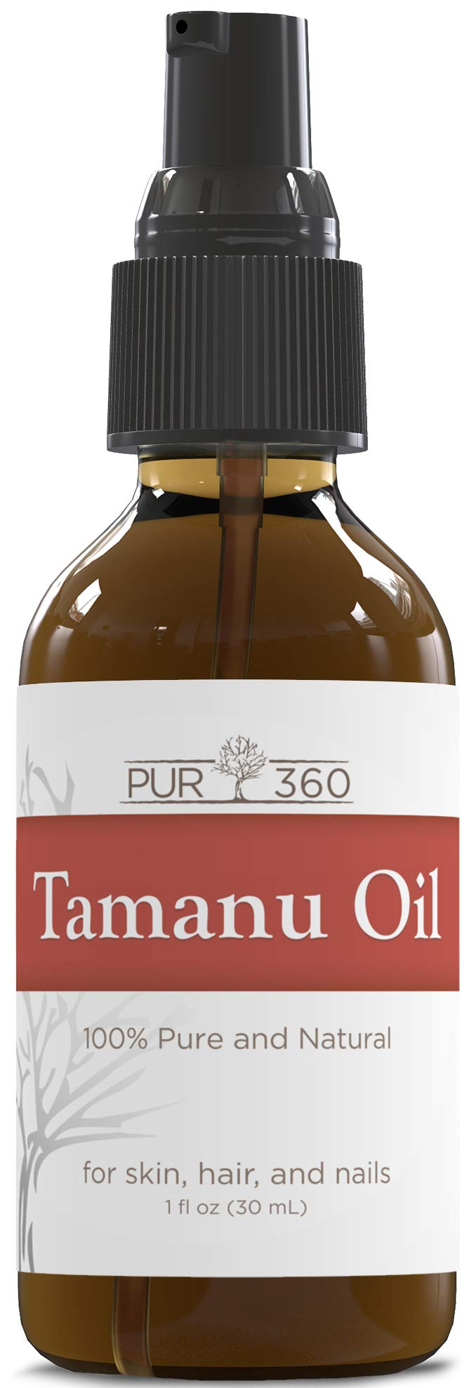 Pur360 Tamanu Oil - Pure Cold Pressed - Best Treatment for Psoriasis, Eczema, Acne Scar, Foot Fungus, Rosacea - Relief for Dry, Scaly Skin, Scalp and More by PUR360
