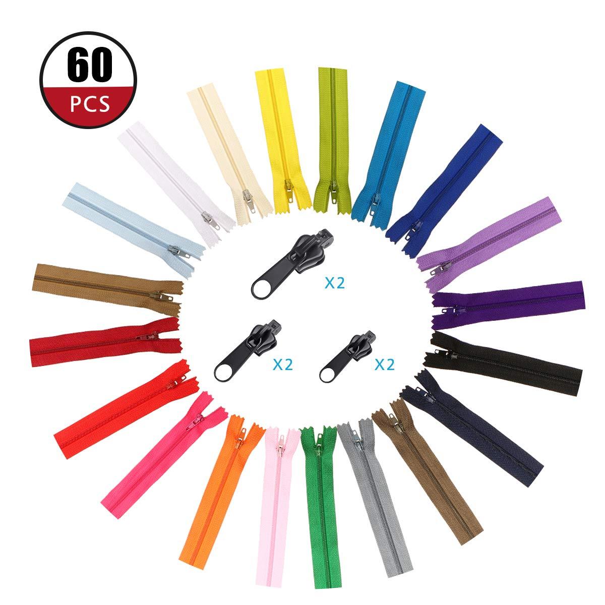 ARTISTORE Cerniere Lampo 66PCS 36CM(14 pollici) Invisibile Nylon Bobina Cerniere+6 Testa Universale con Cerniera,Tailor Craft Bulk per Sartoria Artigianato Da Cucire, 20 Colori