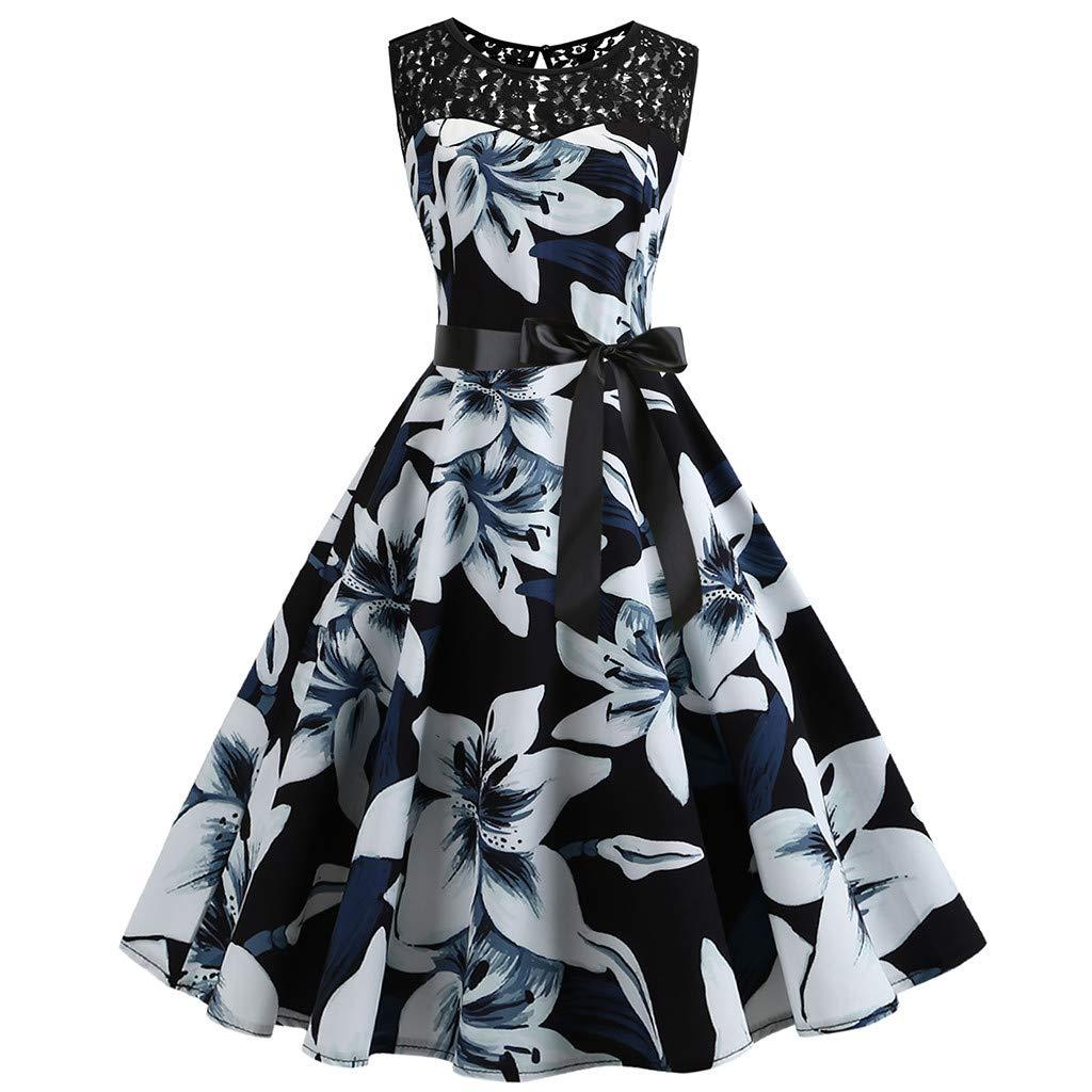 Gaddrt Damen Kleid Vintage 50er Jahre Retro Sleeveless Lace Splice Druck Party Prom Swing Dress Sommerkleid Maxikleid Cocktailkleider Partykleider Spitzenkleid