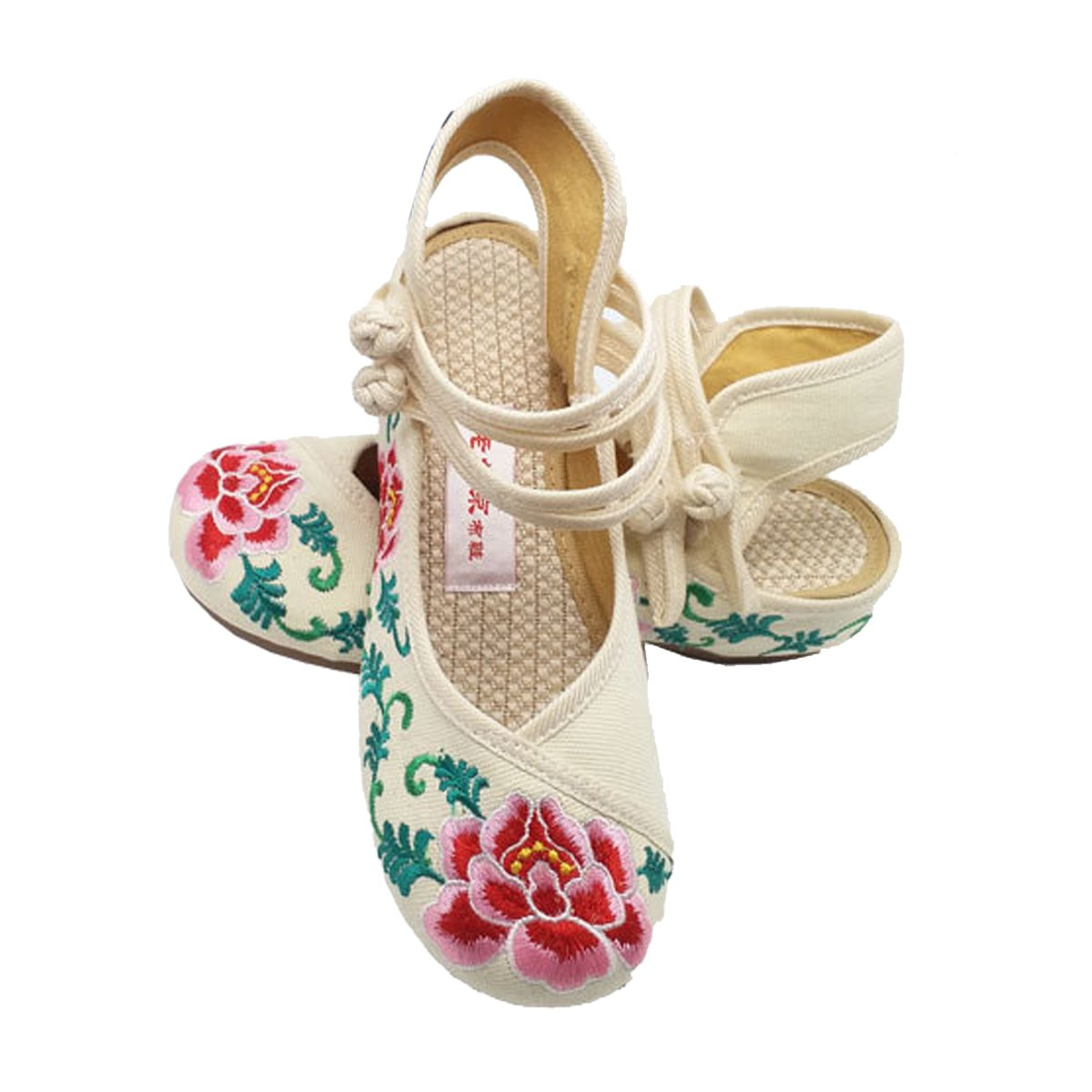 Univegrow Women\'s Embroidered Flat Cotton Shoes