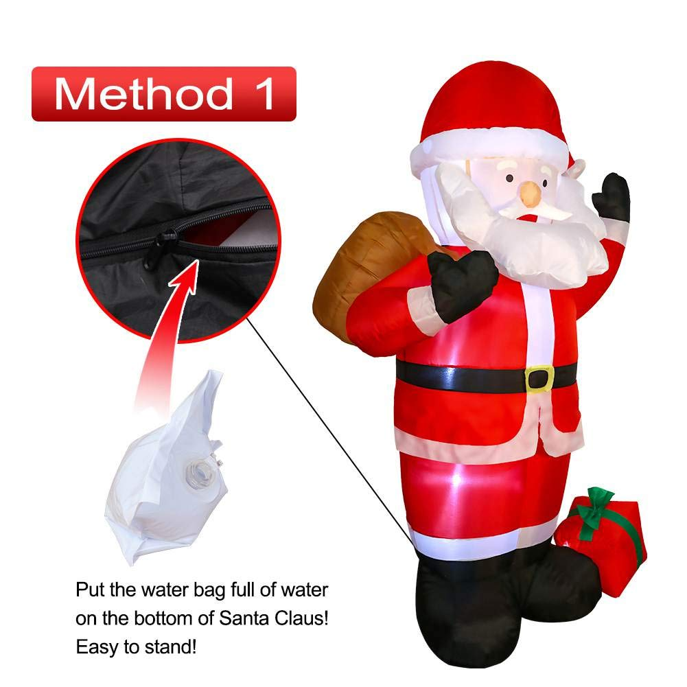 AerWo 6ft Christmas Inflatables Santa Claus Christmas Blow Up Yard Decoration for Christmas Decorations Outdoor D/écor with LED Light Up Giant Xmas Decorations