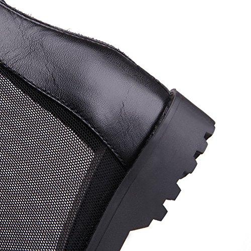 Amoonyfashion Femmes Chaton-talons Matériau Souple Fermeture À Glissière Solide Sandales À Bout Ouvert Noir