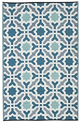 Fab Habitat Seville Indoor/Outdoor Recycled Plastic Rug, Multicolor Blue, (