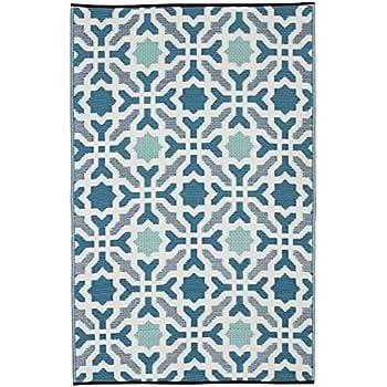 Fab Habitat Seville Indoor/Outdoor Recycled Plastic Rug, Multicolor Blue, (  3u0027 X 5u0027)