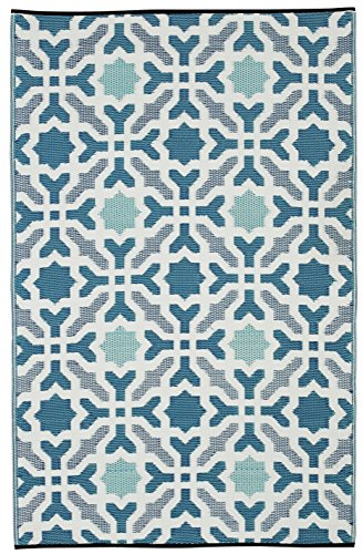 Fab Habitat Seville Indoor/Outdoor Recycled Plastic Rug, Multicolor Blue, (4' x 6')