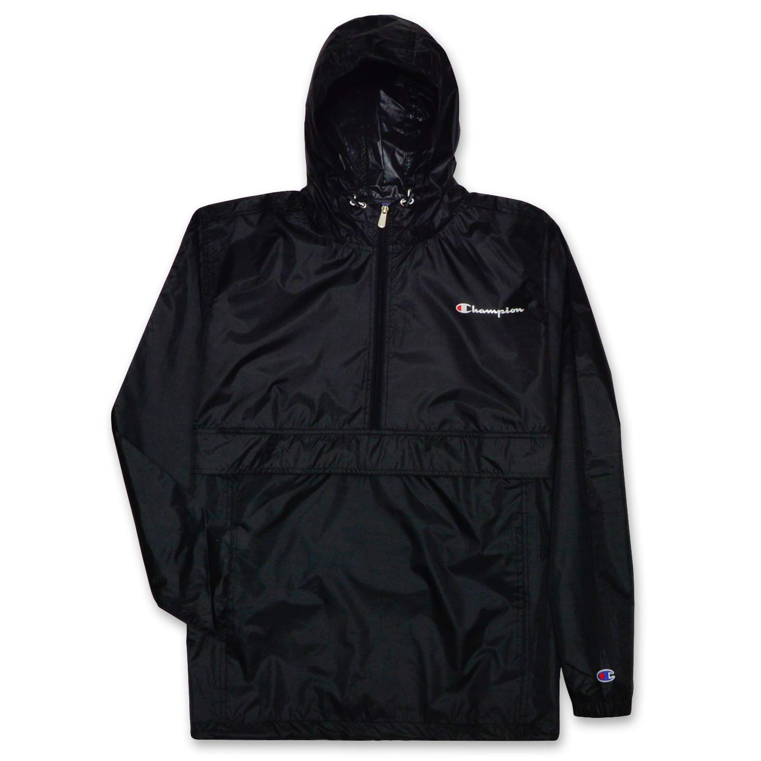 Champion Mens Big and Tall Packable Lightweight Anorak Jacket Black 4X by Champion