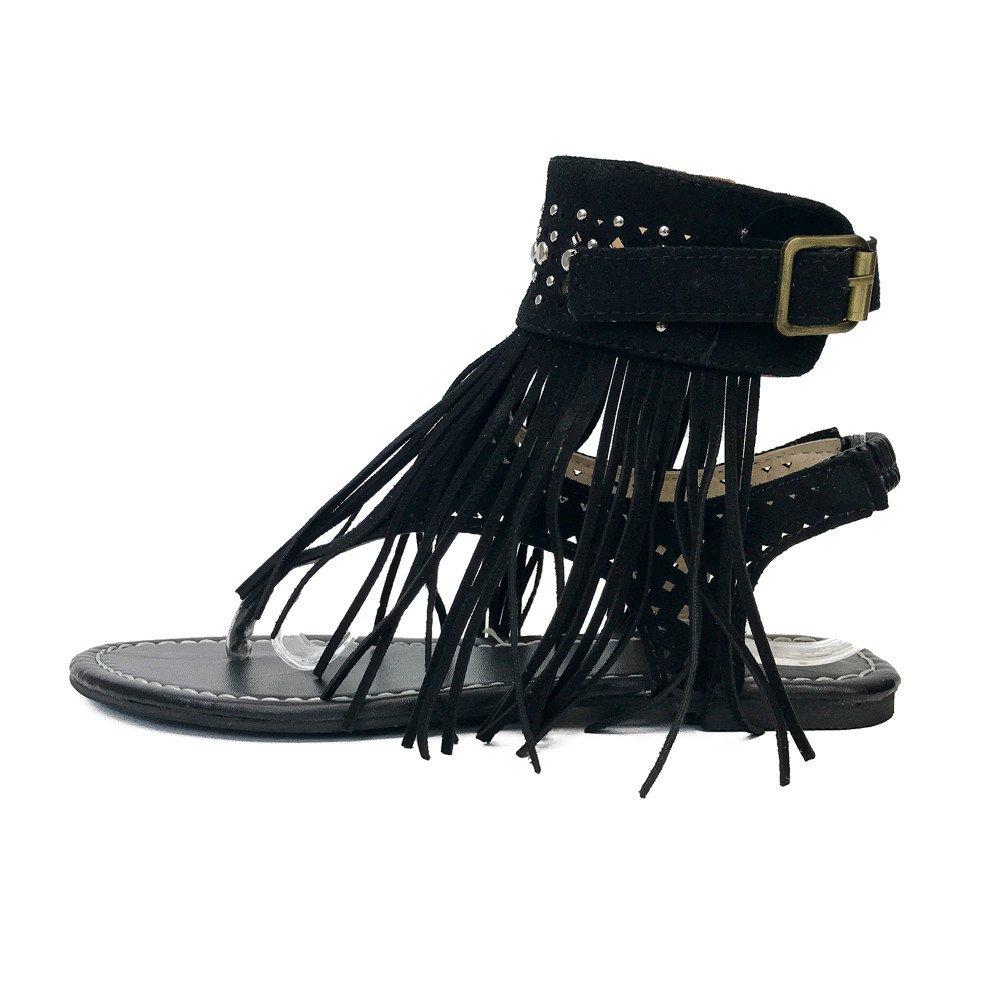 Nevera Women's Summer Tassel Shoes Girls Flip Flops Beach Bohemia Flat Sandals Black