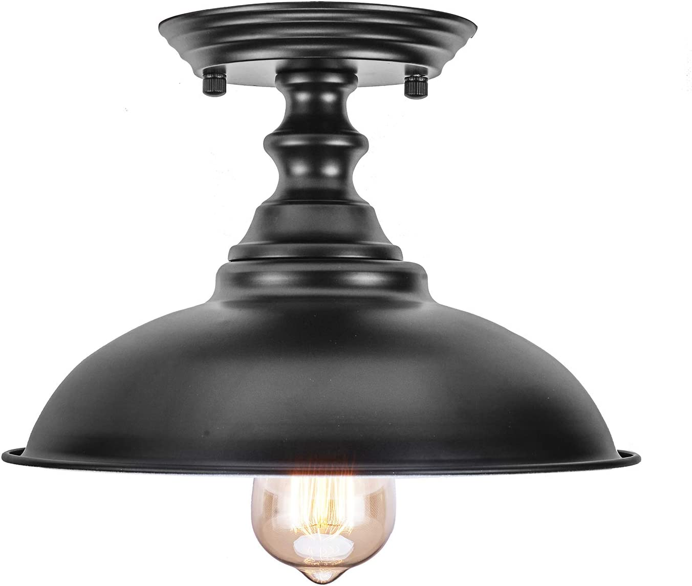 HMVPL Farmhouse Close to Ceiling Lamp, Metal Black Semi Flush Mounted Pendant Lighting Fixture Industrial Edison Light for Kitchen Island Dining Room Foyer Hallway Entryway Set of 2