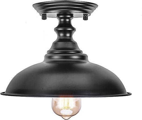 HMVPL Farmhouse Close to Ceiling Lamp, Metal Black Semi Flush Mounted Pendant Lighting Fixture Industrial Edison Light for Kitchen Island Dining Room Foyer Hallway Entryway Set of 2