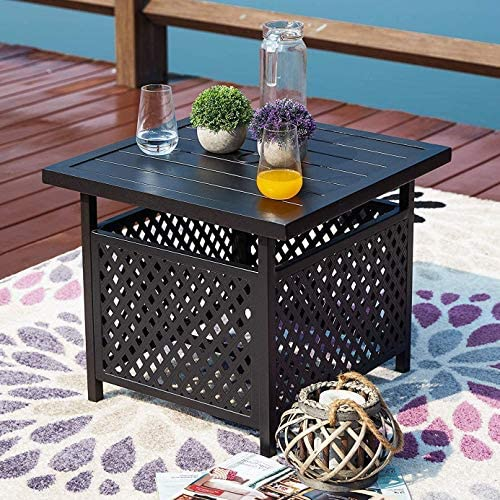 PatioFestival Outdoor Square Side Table Black Metal Frame Tables Patio Dining Bistro Table with Umbrella Hole Deck Garden Pool Furniture 22 x 22