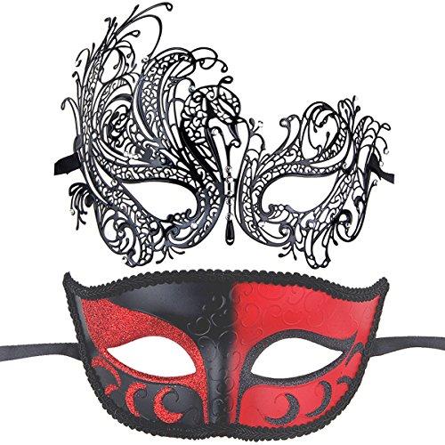 Venetian Masquerade Ball Dresses (Couples Pair Half Venetian Masquerade Ball Masks Set Party Costume Accessory (white))