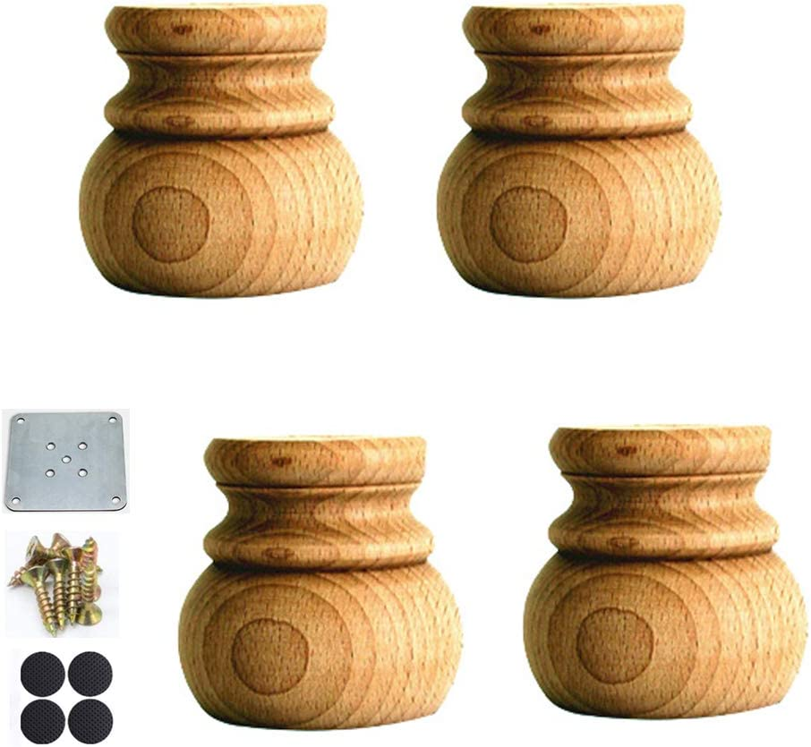 Set Of 4 Solid Wood Furniture Legs Wooden Unfinished Bun Feet Cabinet Feet Coffee Table Legs Sofa Feet Replacement Legs With Mounting Accessories 2 75inch 7cm Amazon Co Uk Diy Tools