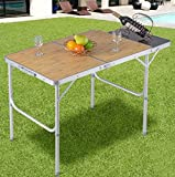 K&A Company Table Bbq Aluminum Folding Picnic Camping Backyard With Mdf Top Portable Modern Us Desk