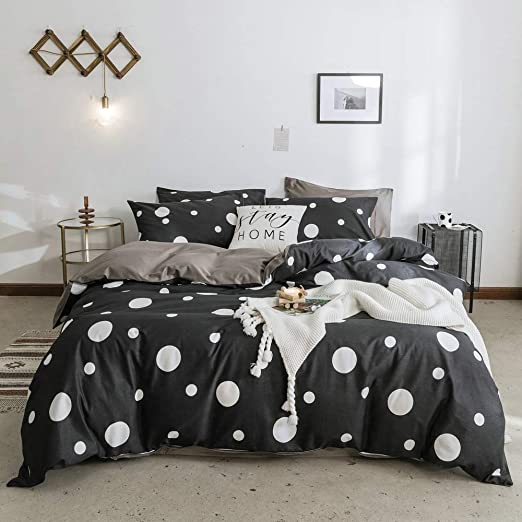 Polka Dot Black White Modern Spots Reversible Bedding New