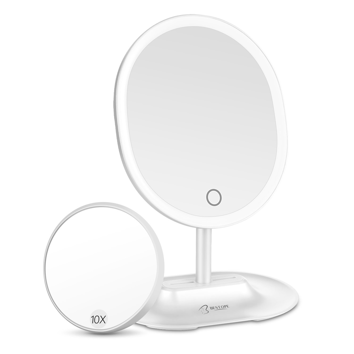 BESTOPE LED Makeup Mirror with 1X/10X Magnification, Natural Lighted Vanity Mirror Touch Screen, USB & Battery Power Supply, Oval Shaped Dimmable Countertop Cosmetic Makeup Mirror by BESTOPE (Image #1)