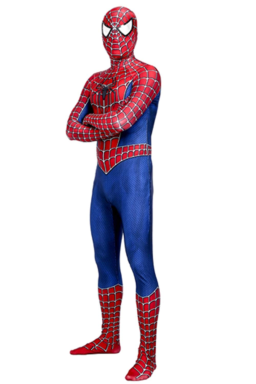 Heroscostume Red and Blue Spandex Lycra Halloween Cosplay Costume Fullbody Zentai Bodysuit for Men and Kids