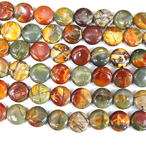 - Aa Natural Picasso Jasper Coin 12mm Gemstone Beads Jewerlry Making Findings