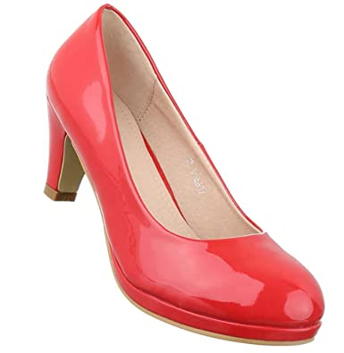 Damen Pumps Schuhe High Heels Klassische Stiletto Rot Schwarz 36 37 38 39 40 41