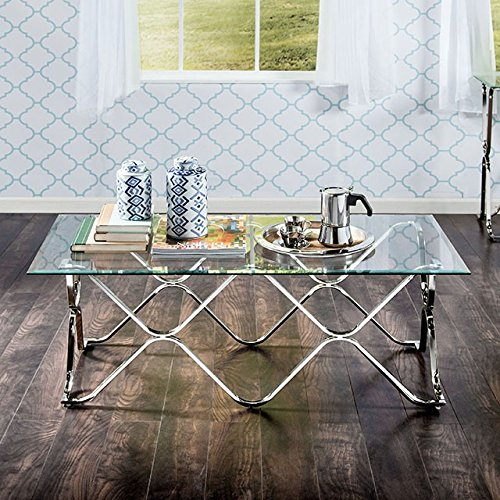 Vador Chrome Metal/Glass Coffee Table by Furniture of ()