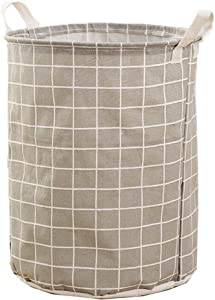 WEICHA Waterproof Foldable Laundry Basket, Round Cotton Linen Laundry Hamper, Dirty Clothes Storage Bin for Laundry Hamper, Toy Bins, Gift Baskets, Bedroom, Clothes, Baby Hamper