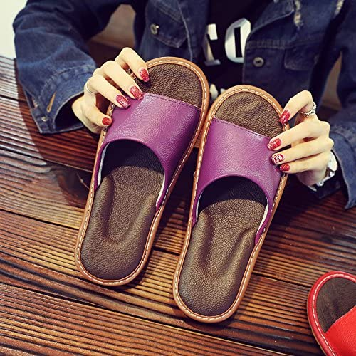 fankou Slippers Female Summer Home Home Interior Wooden Floor Men's Silent Couples Air Cool Slippers,41-42, Purple