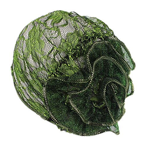 Women Ruffle Chemo Lace Pleated Flower Hat Beanie Scarf Turban Head Wrap Cap For Cancer (Green)
