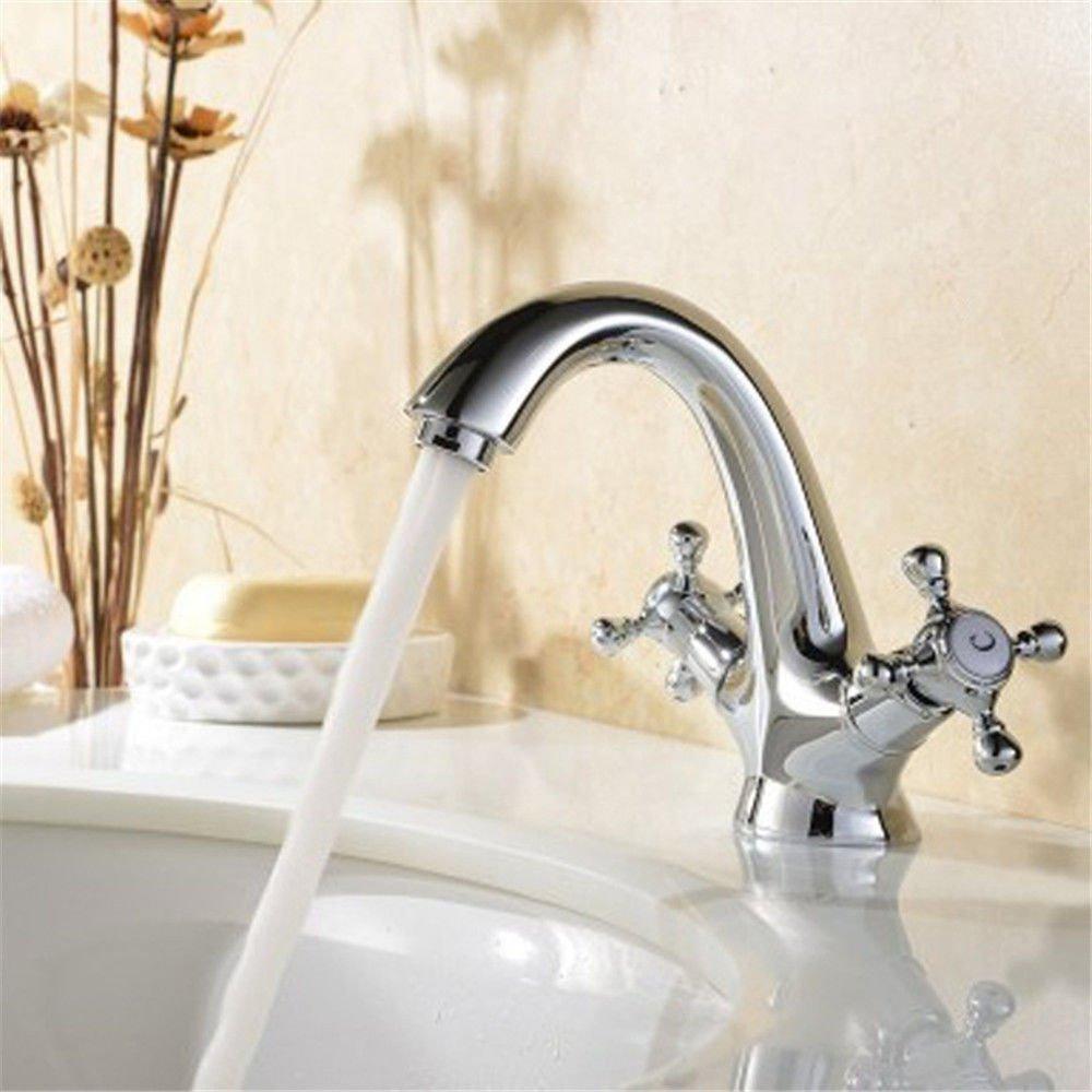 MEIBATH Waschtischarmatur Badezimmer Waschbecken Wasserhahn Küchenarmaturen Messing Warmes und Kaltes Wasser Chorme verchromt mit Griff Küchen Wasserhahn Badarmatur