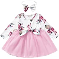 Camidy Baby Girl Dress Tutu Mesh Floral Dress Lovely Birthday Party Dress + Headband
