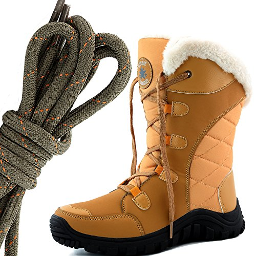 DailyShoes Womens Comfort Round Toe Mid Calf Hiking Outdoor Ankle High Eskimo Winter Fur Snow Boots, Olive Orange Camel Tan