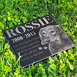 Personalized Dog Memorial With Photo Free Engraving MDL2 Customized Grave Marker | 12x12