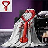 Sea Animals picnic blanket A Boiled Lobster Shaped as A Heart Symbol Seafood Love Valentines Restaurant Menu Art soft throw blanket Red size:51''x31.5''