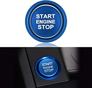 LECART 2Pcs Blue Car Engine Start Stop Button Cover Ring Ignition Start Stop Button Trim Push Button Switch Decor Sticker Aluminum Alloy Auto Interior Accessories Compatible for Audi A4 A5 A6 A7 A8 Q5