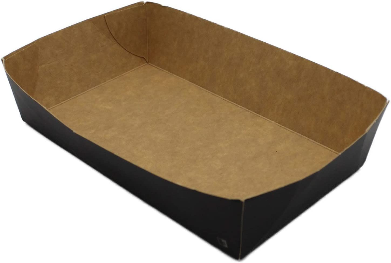 N2 67x140x42mm BAMI EINWEGARTIKEL Snackschale Pommesschale Pappschale Papier Schale Fingerfood Einwegschale Schwarz Verschiedene Gr/ö/ßen , 100