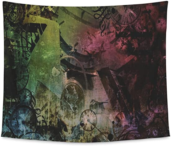 Gear New Wall Tapestry for Bedroom Hanging Art Decor College Dorm Bohemian, Steampunk Abstract Colorful Industrial Machines, Large, 104 inches Wide by 88 inches Tall
