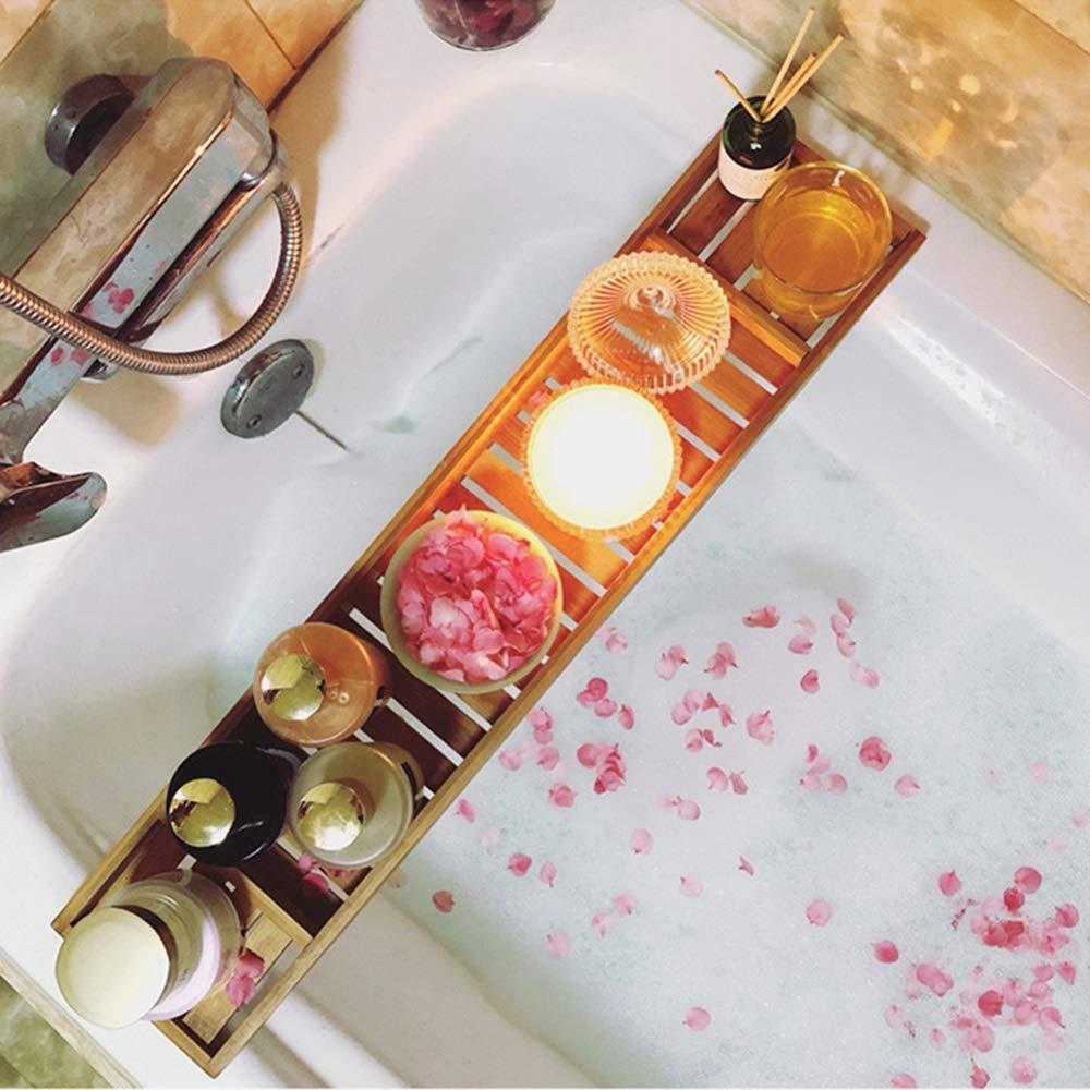Bathtub Trays HAIZHEN, 100% Natural Bamboo Wooden Bathtub Caddy Bathroom Shower Organizer for Shampoo, Soap, Razors by Bathtub Trays (Image #2)