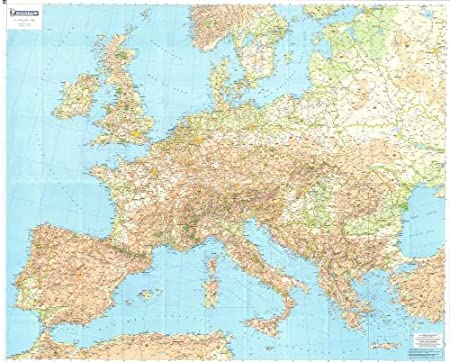Map Of Europe And The Uk.Michelin National Wall Map Of Europe A Encapsulated In Gloss