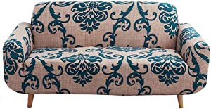 nordmiex Printed Stretch Sofa Slipcover - 1 Piece Elastic Polyester Spandex Couch Covers- Universal Fitted Sofa Slipcover Furniture Protector (Loveseat Sofa,European Style),Brown/Navy Blue
