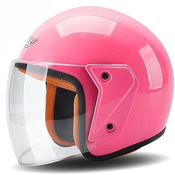 Casco de motocicleta 3/4 cara abierta cascos Moto Negro Mate Scooter Motocross Biker Rosa