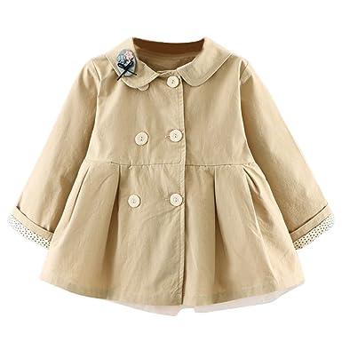 1c10855c3 Amazon.com  Little Baby Girls Fall Trench Coat Cartoon Lapel Collar ...