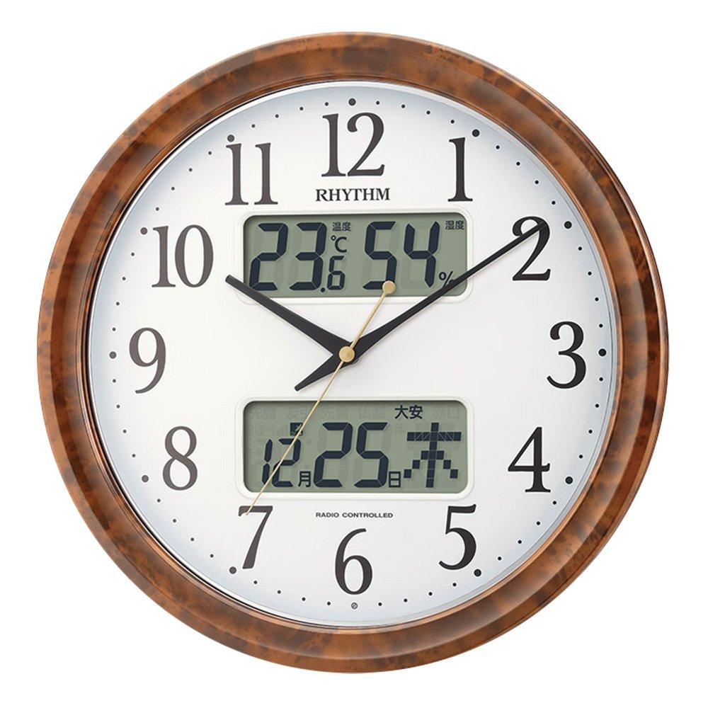 掛け時計 壁掛け時計 電波時計 大きいサイズ 大型 丸型 インテリア レトロ 北欧 掛時計 丸時計 とけい カレンダー付き 暗所秒針停止 夜間自動点灯 B07DX6G4JN